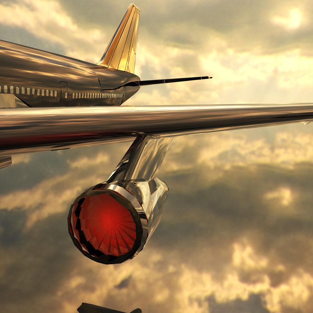 蓝天中的飞机局部特写高清图片