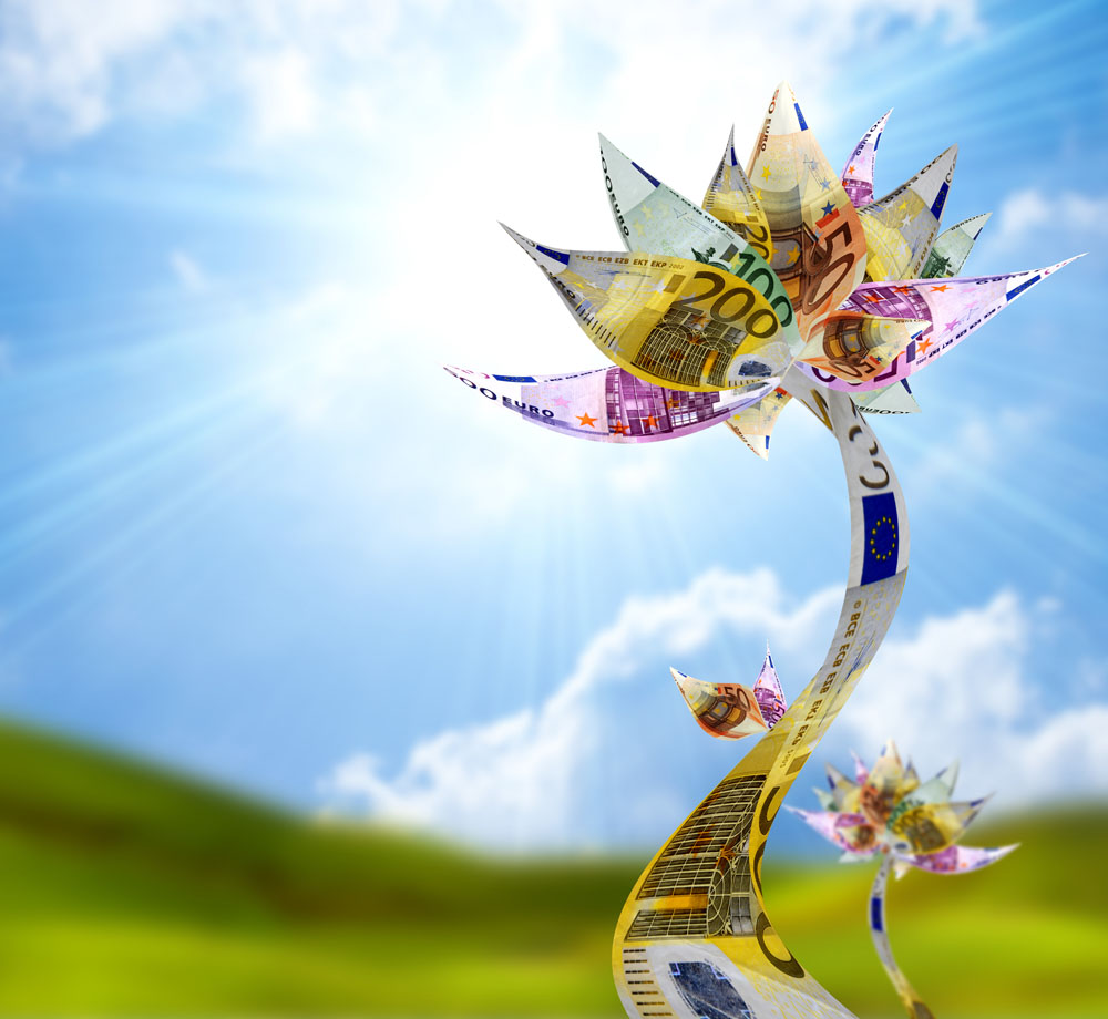 钞票组成的花朵环保创意高清图片