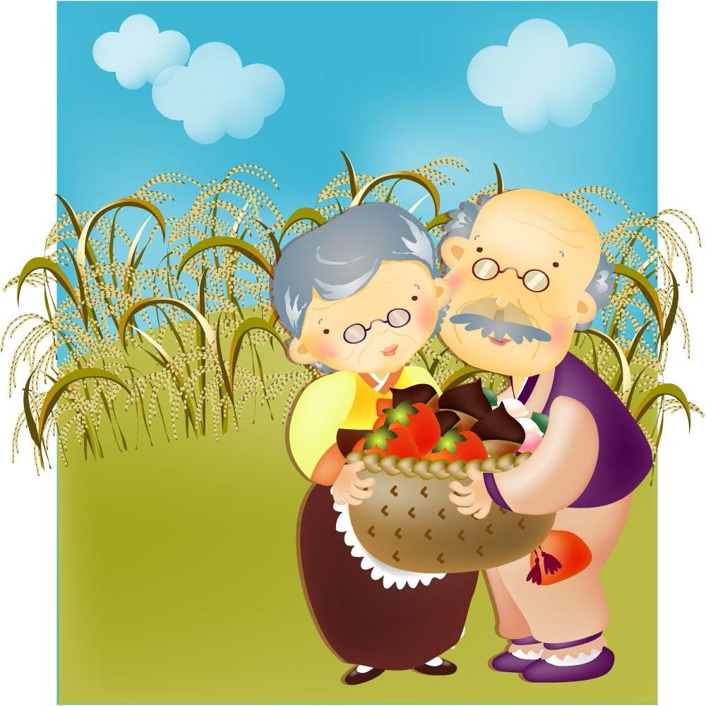 老年人夫妻插画图片