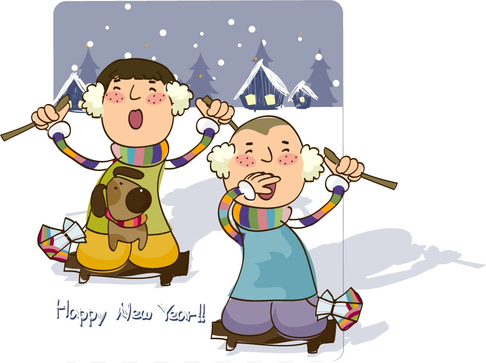 雪地上的卡通儿童图片
