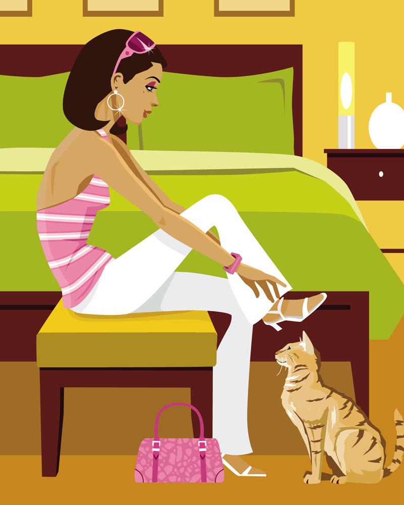 插画女孩与猫咪图片