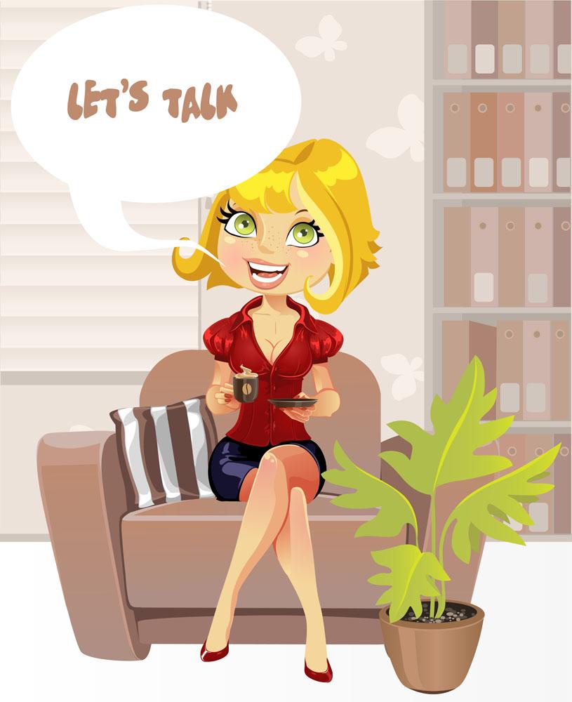 坐在沙发上的卡通美女图片