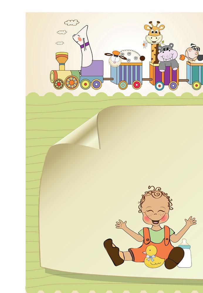 儿童明信片背景矢量素材图片