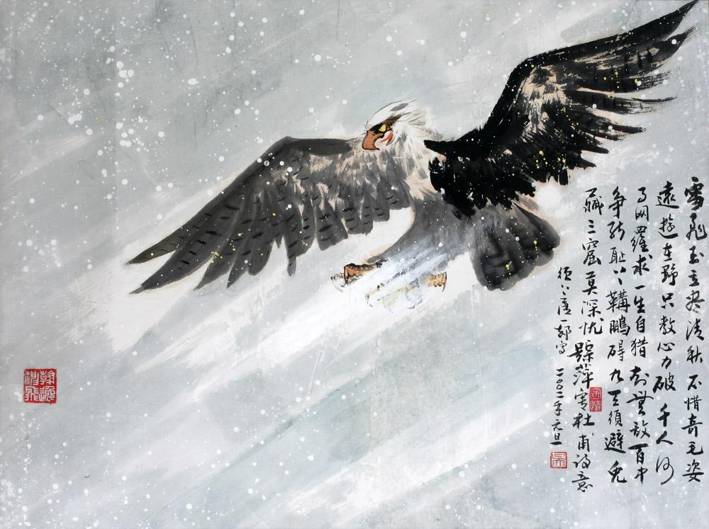手绘老鹰油画