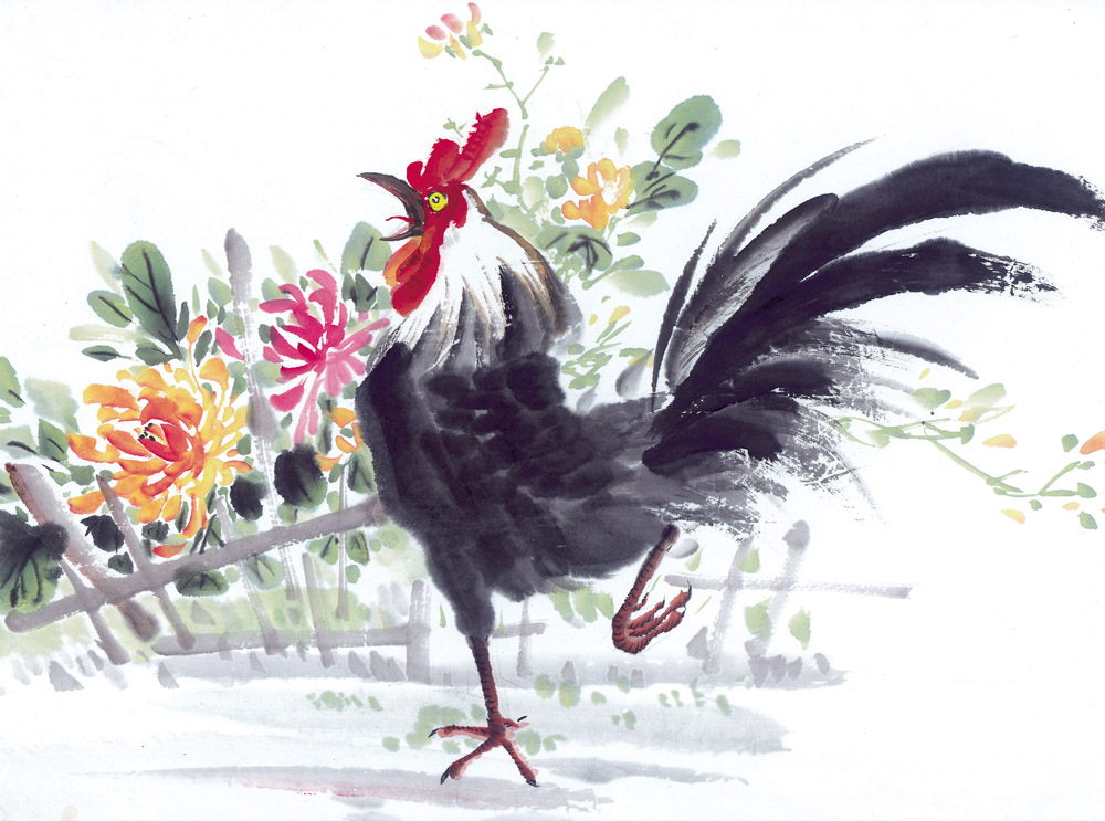 鲜花与公鸡装饰画